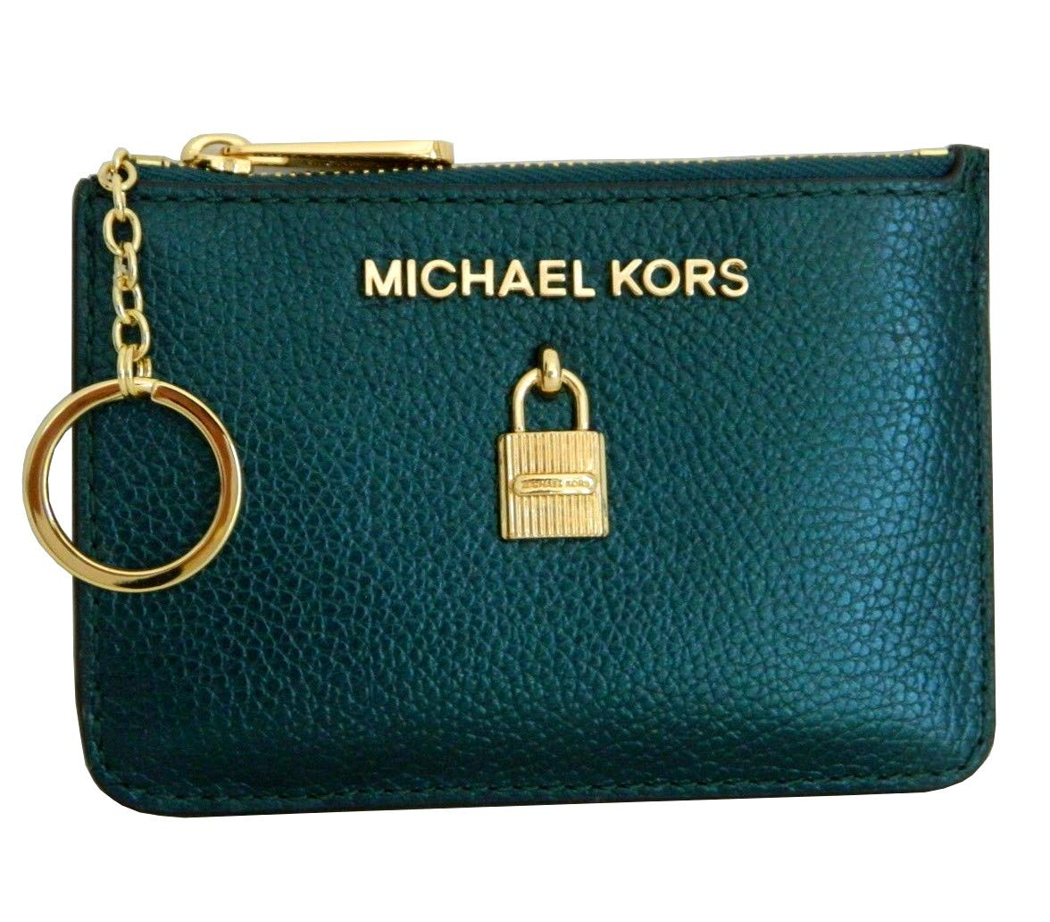 Michael Kors Adele Small Top Zip Coin Pouch ID Card Case Wallet (Deep Teal)