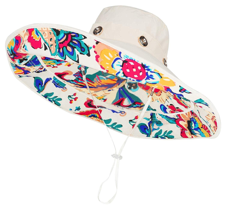 72521fbcc7b Bienvenu Women Summer Sun Cap Wide Brim Beach Bohemia Foldable UPF 50+  Travel Beach Sun Visor Bucket Hat Beige at Amazon Women s Clothing store
