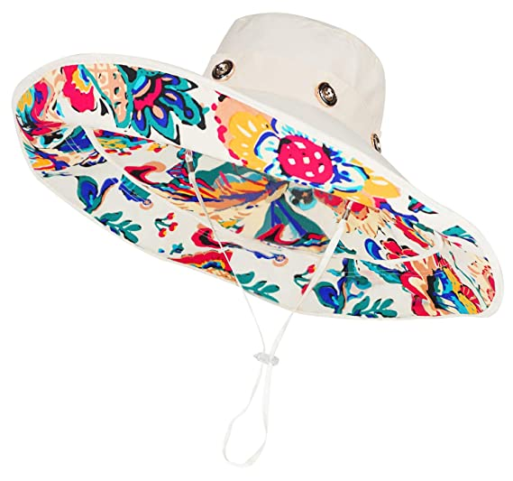 be35eebcbee Bienvenu Women Summer Sun Cap Wide Brim Beach Bohemia Foldable UPF 50+  Travel Beach Sun