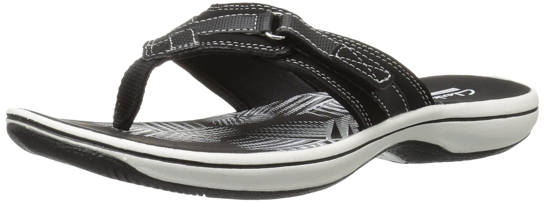 CLARKS Women's Breeze Sea Flip Flop, New Black Synthetic, 9 M US