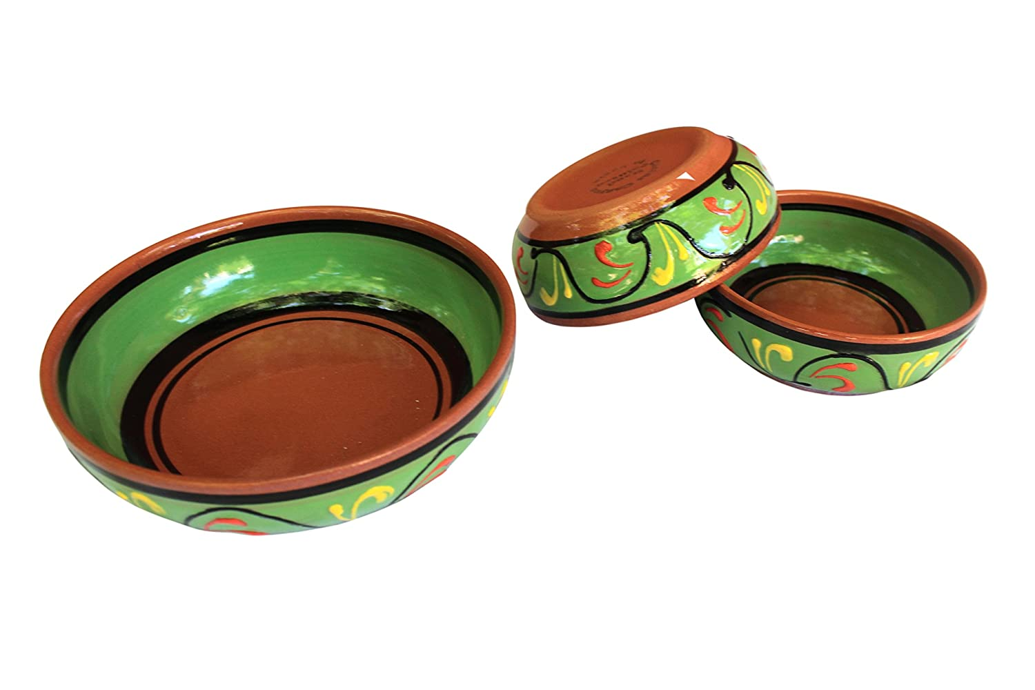 Green Hand Painted In Spain Terracotta Festive Set of 3