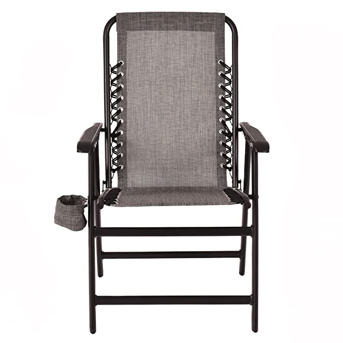 cb7af1862c Amazon.com : Gray Folding Outdoor Arm Chair Steel Frame W/ Cup ...