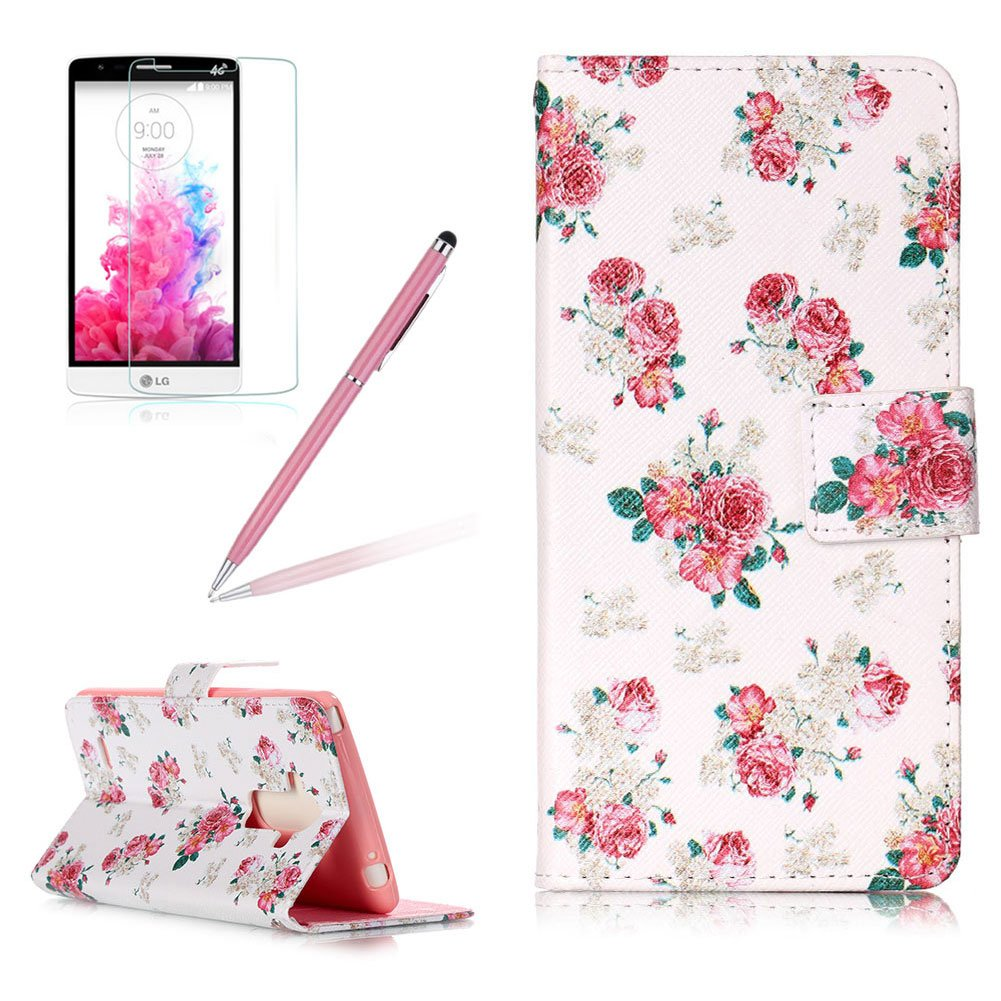 Girlyard For LG G4 Stylus LS770 / LG G Stylo [Kickstand] Blossom Cherry Tree Slim Fit Flip Wallet PU Leather Protective Case Cover Soft TPU Inner Lightweight Holster with Magnetic Clasp and Card Slots