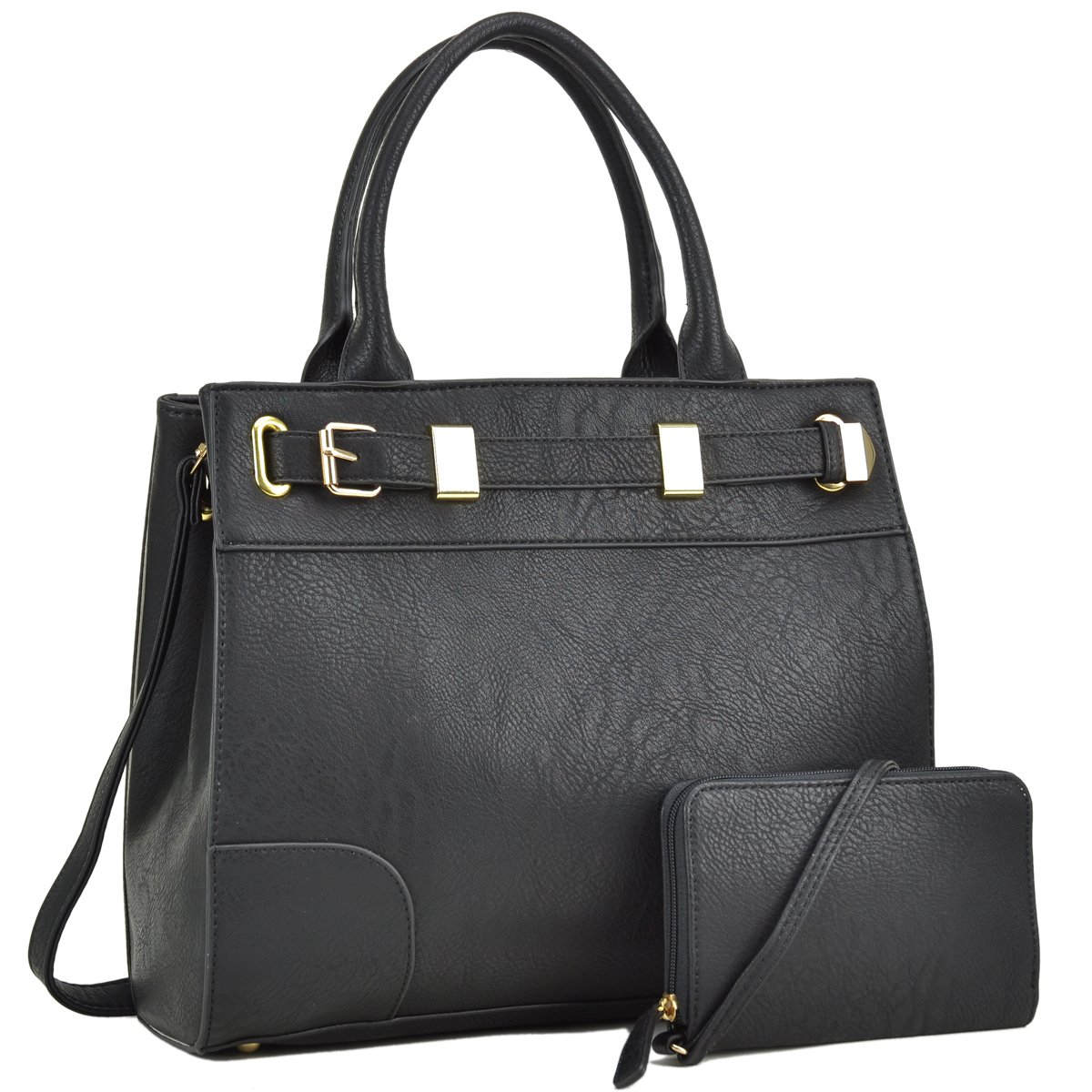 LUXE DESIGN  Get carried away with this signature new look medium satchel  with a Front belted gold plated hinge and a matching wristlet 8a4fd03e29d71