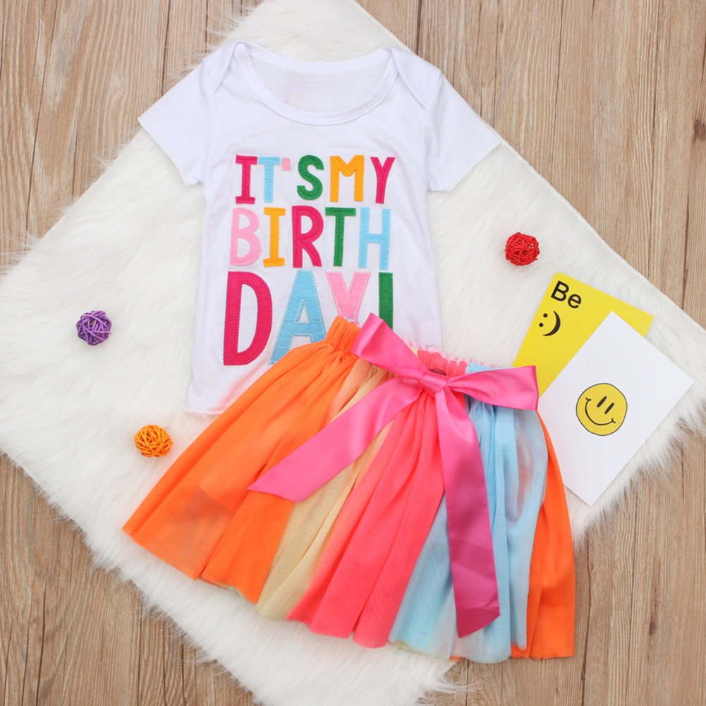 Rainbow Tutu Skirt Spring Summer Baby Kids Girls Casual Outfits Cute Its My Birthday 2 Pieces Clothing Set Tops