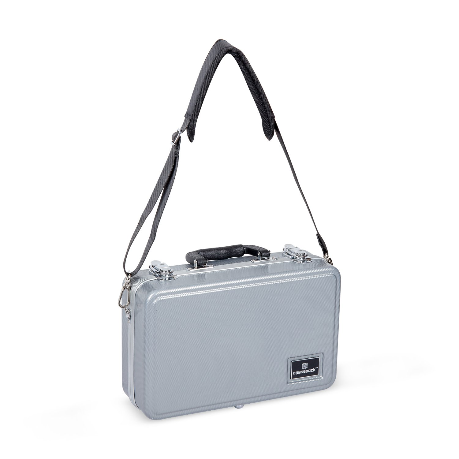 Crossrock CRA860CLSL Clarinet ABS Molded Hard Shell Case with Single Shoulder Strap in Silver