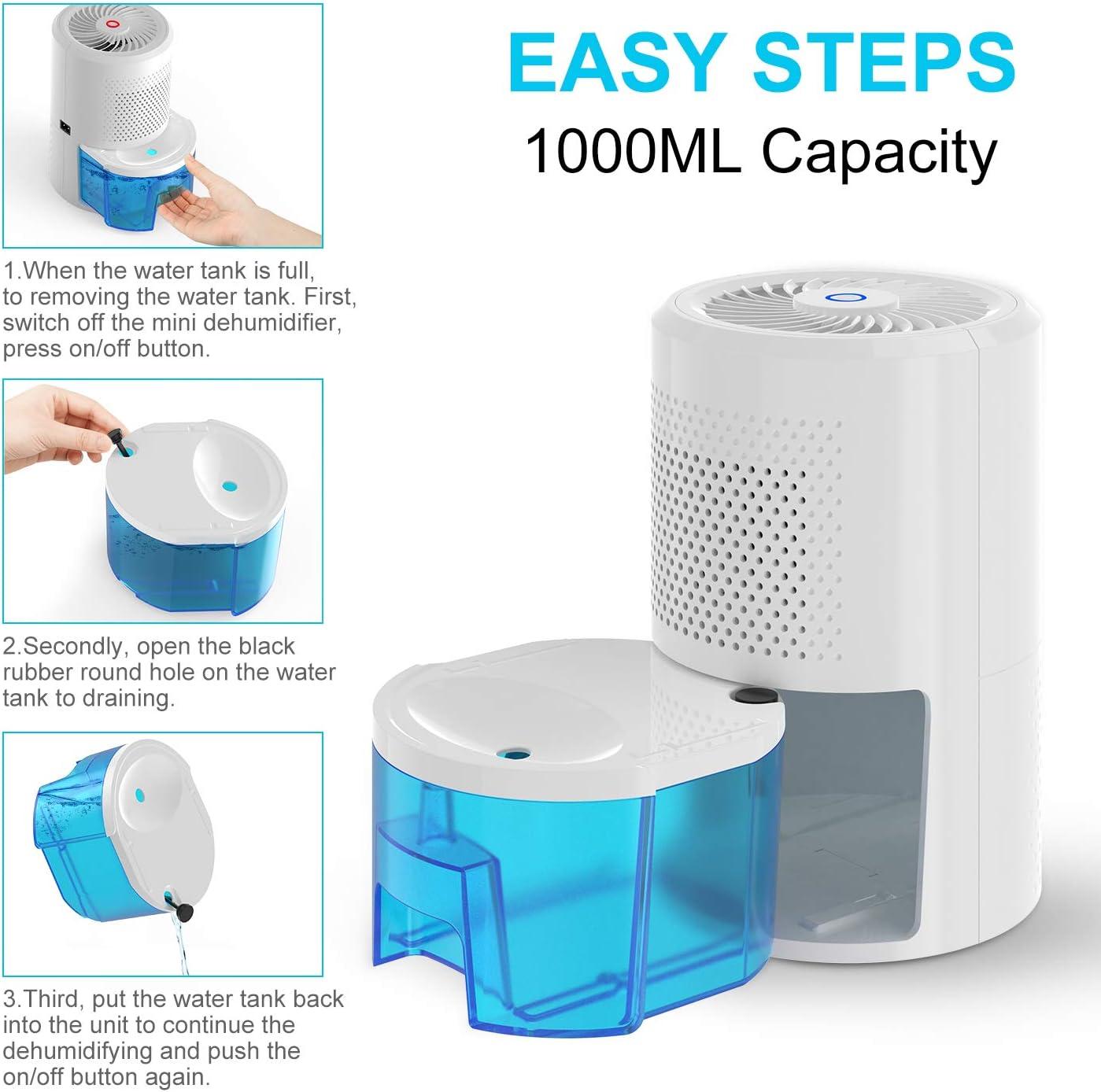 Sp/écification britannique Prise de courant PAIPU D/éshumidificateur Mini d/éshumidificateur /électrique portable 1000 ml 400 ml//24h Petit d/éshumidificateur avec d/éshumidificateurs silencieux pour maison