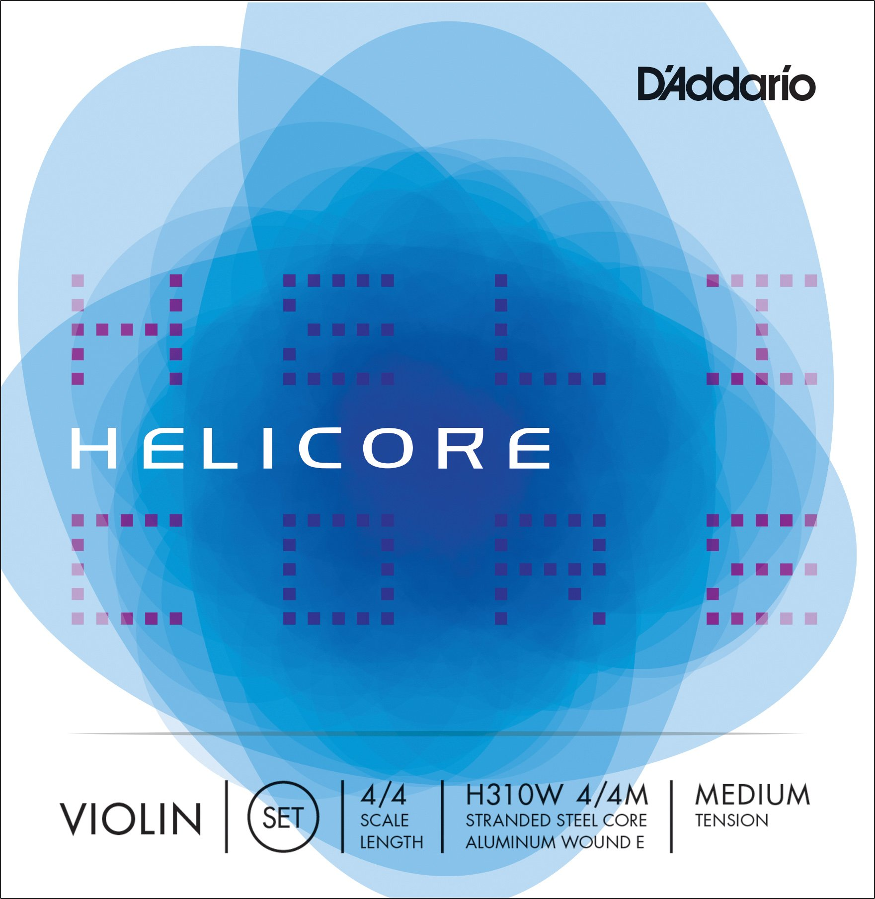 D'Addario H310W Helicore Violin String Set, 4/4 Scale Medium Tension with Steel E String (1 Set) - Stranded Steel Core for a Clear, Warm Tone - Versatile and Durable - Sealed Pouch Prevents Corrosion