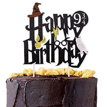 Harry Potter Theme Happy Birthday Cake Cupcake Topper Hogwarts Lightning Felt Baby Party Hanging