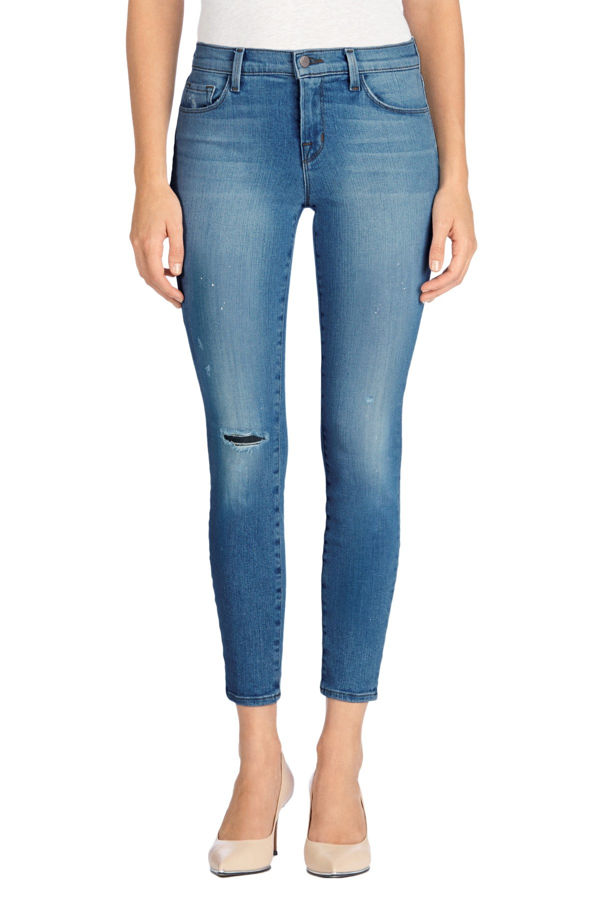 J Brand Womens Denim Distressed Capri Jeans Blue 25