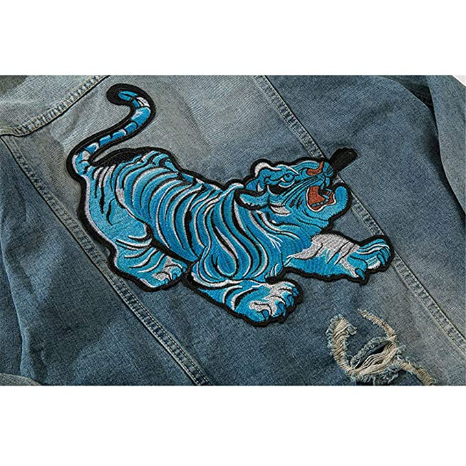 Mens Vintage Blue Tiger Embroidered Hole Hip Hop Denim Jacket at Amazon Mens Clothing store: