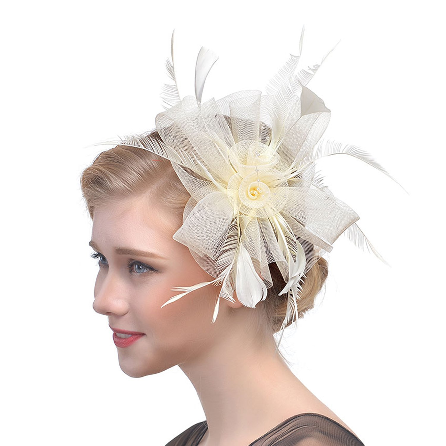 3f00b6bf2789f qnprt Women s Sinamay Fascinator Hair Clip Top Hat
