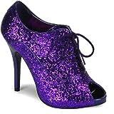 Pleaser Women's Wink 01 Peep Toe Glitter Oxford Pump, Purple Glitter