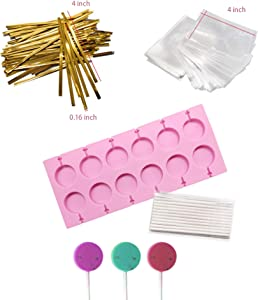 Akingshop 12 Capacity Silicone Lollipop Molds,Chocolate Hard Candy Mold with 50pcs 4 inch Lollypop sucker sticks,Candy Treat Bags,gold ties. (Round pink)