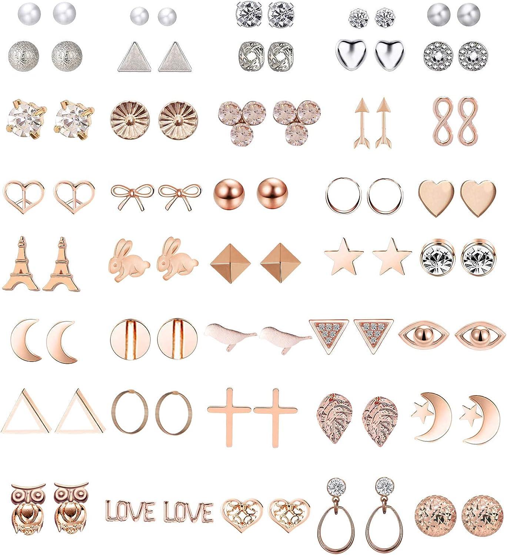 GUUTUUG 42 Pares Surtidos de múltiples aretes de joyería Conjunto con Tarjeta para Mujeres niñas Simple aro Conjunto de Pendientes