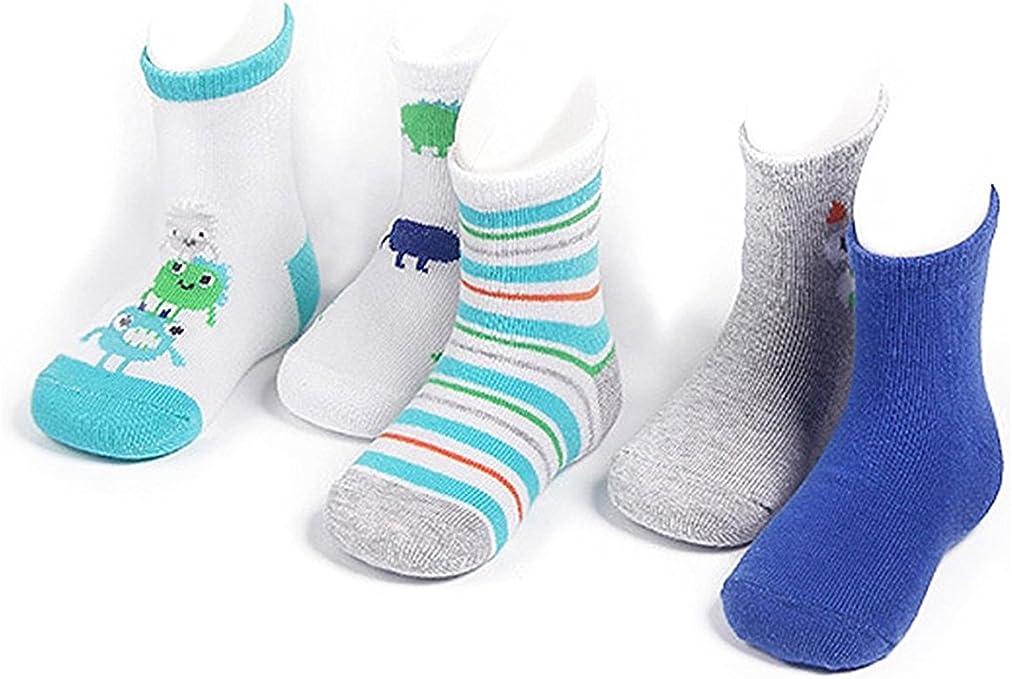 4-6 years old Century Star Boys Girls Stylish Cotton Unisex Kids Child Comfort Seamless Crew Socks 5 Pack Bear S