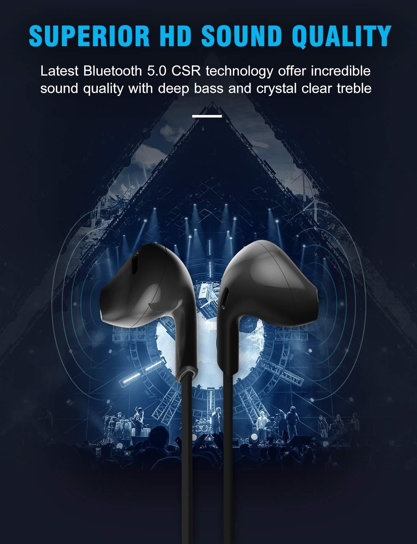 Bluetooth Headphones,GUSGU Bluetooth 5.0 Wireless Headphones with Microphone Waterproof Running Headphones,Sport Bluetooth Wireless Earphones for Workout,Running,Gym Comfy Fast Pairing