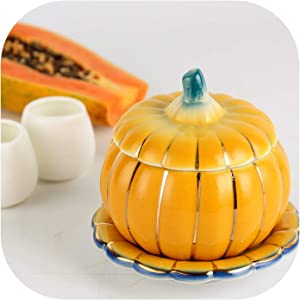 1PCS 6 Inch Exquisite Beautiful Ceramic Pumpkin Slow Cooker Dessert Nest Bowl Oven Cover,Yellow,4.5Inch