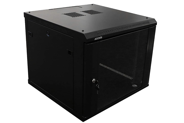 AEONS 9U プロ仕様 壁掛け ネットワークサーバー キャビネット エンクロージャ 19インチ サーバー ネットワークラック ブラック (完全組み立て) B07KPP2H79