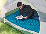 Double Inflatable Sleeping Pad Camping Air Mattress Pillow Lightweight Compact Traveling Hiking Air Bed/Bag Portable 2 Person Waterproof Air Mat,Blue