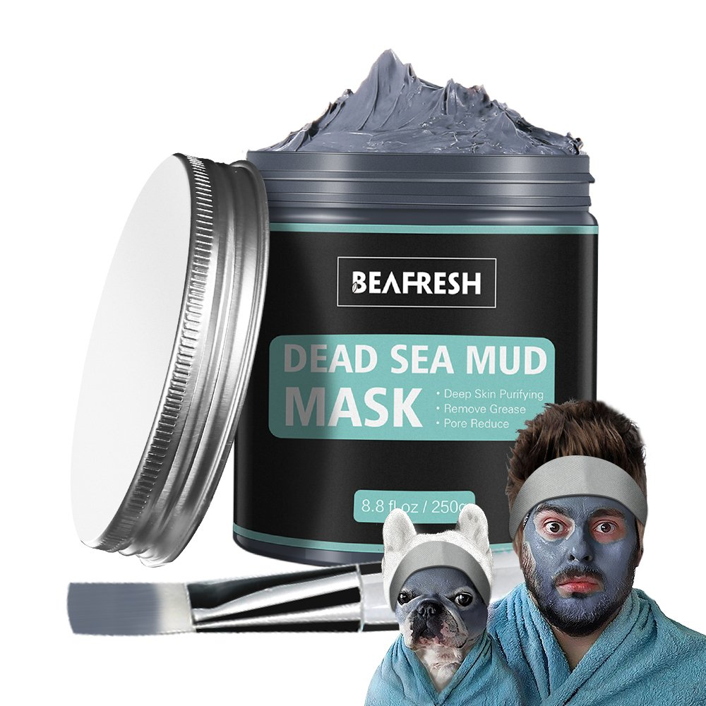 Naturals Dead Sea Mud Mask   Headband & Brush Included For Face And Body Cleansing Relaxing Detox Treatment Reduce Pores, Purifying Face Mask For Acne,... by Beafresh
