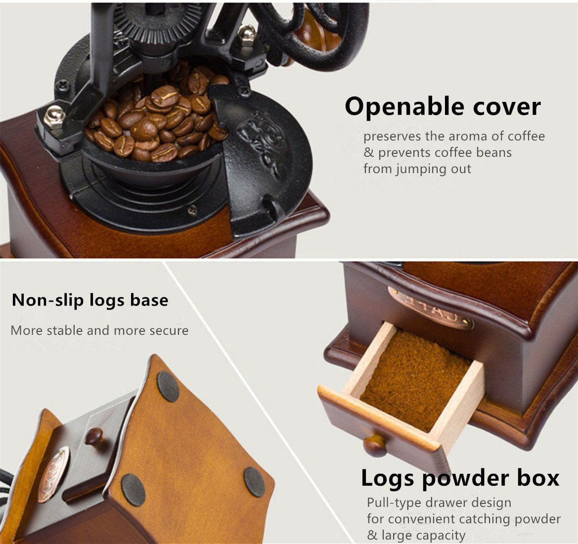 Fecihor Manual Coffee Grinder With Grind Settings and Catch Drawer - Classic Vintage Style Manual Hand Grinder Coffee Mill by Fecihor (Image #6)