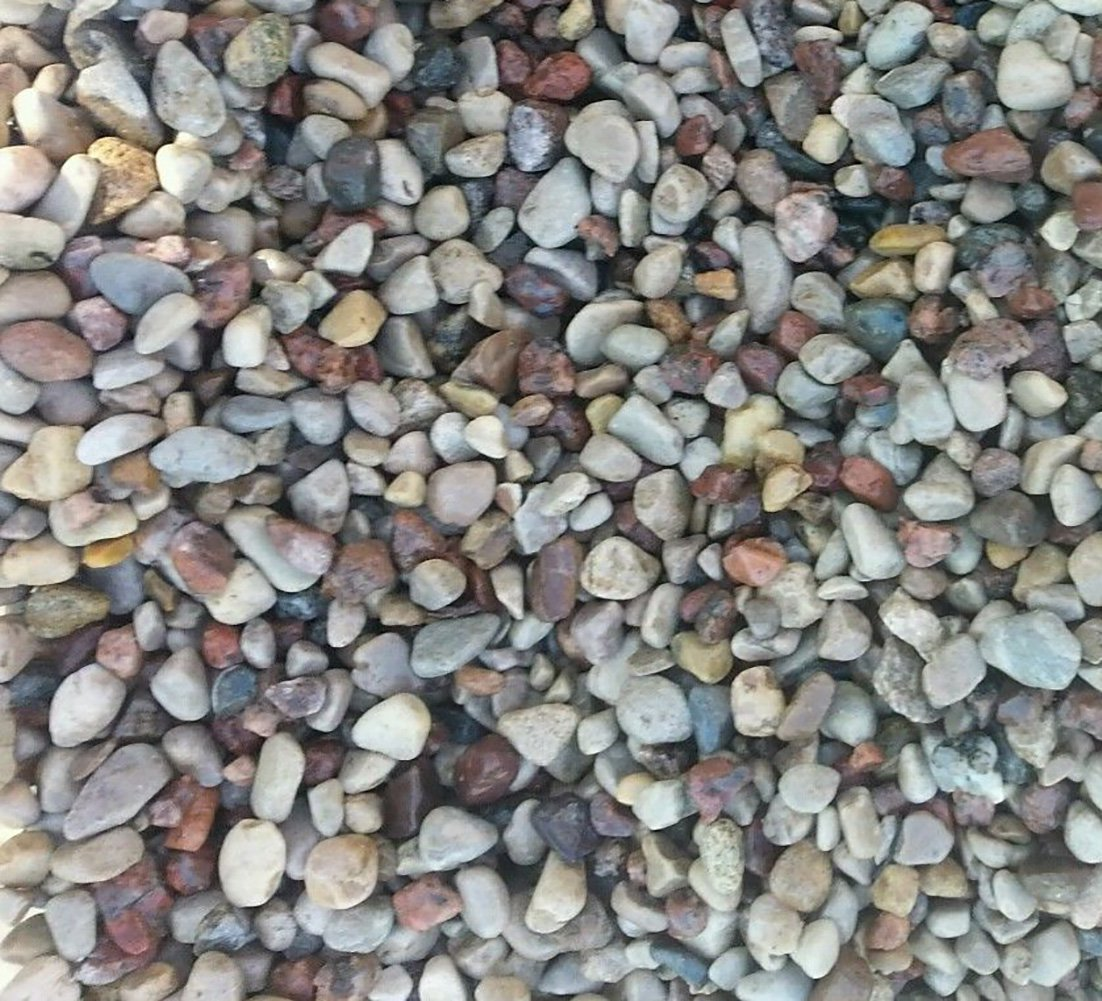 Safe & Non-Toxic {Small Size, 0.13'' to 0.25'' Inch} 45 Pound Bag of Gravel & Pebbles Decor for Freshwater Aquarium w/ Earthy Toned Smooth River Inspired Rustic Natural Style [Tan, Red & Gray]