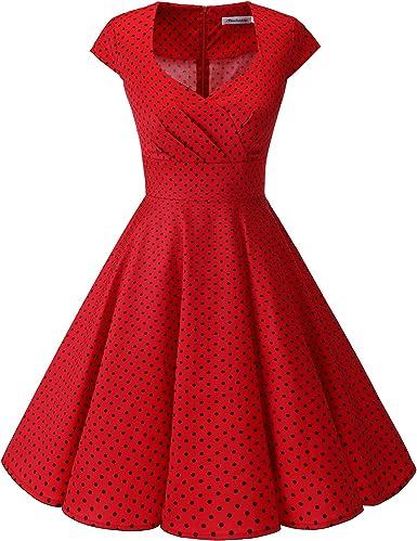 TALLA M. Bbonlinedress Vestido Corto Mujer Retro Años 50 Vintage Escote Red Small Black Dot