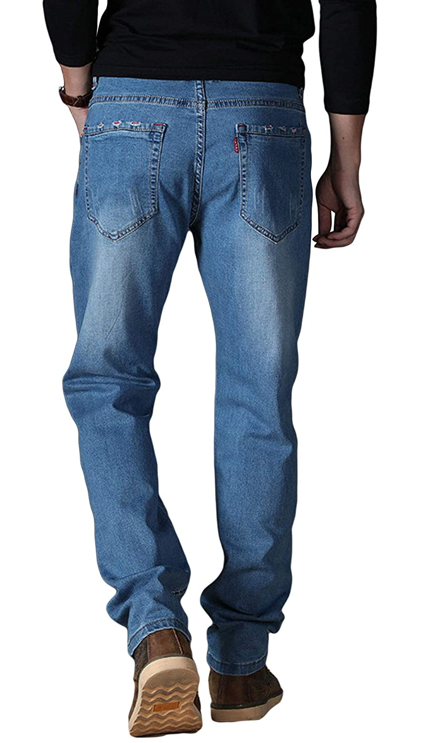 Itemnew Mans Simple Straight Fit Mid-Rise Ripped Distressed Jeans Long Pants