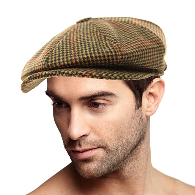 8a1b5cc2921 SK Hat shop Men s 100% Winter Wool Houndstooth Snap newsboy Drivers Cabbie Cap  Hat Large