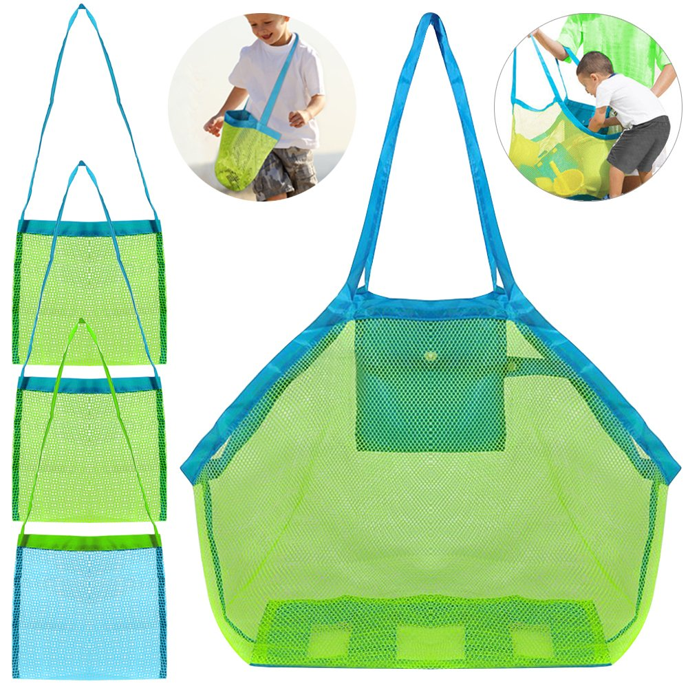 4 Pack Beach Mesh Tote Bag, FineGood Sand Toys Shell Reusable Foldable Lightweight Storage Bag for Kids Women Men - Green FG-beach_bag_4