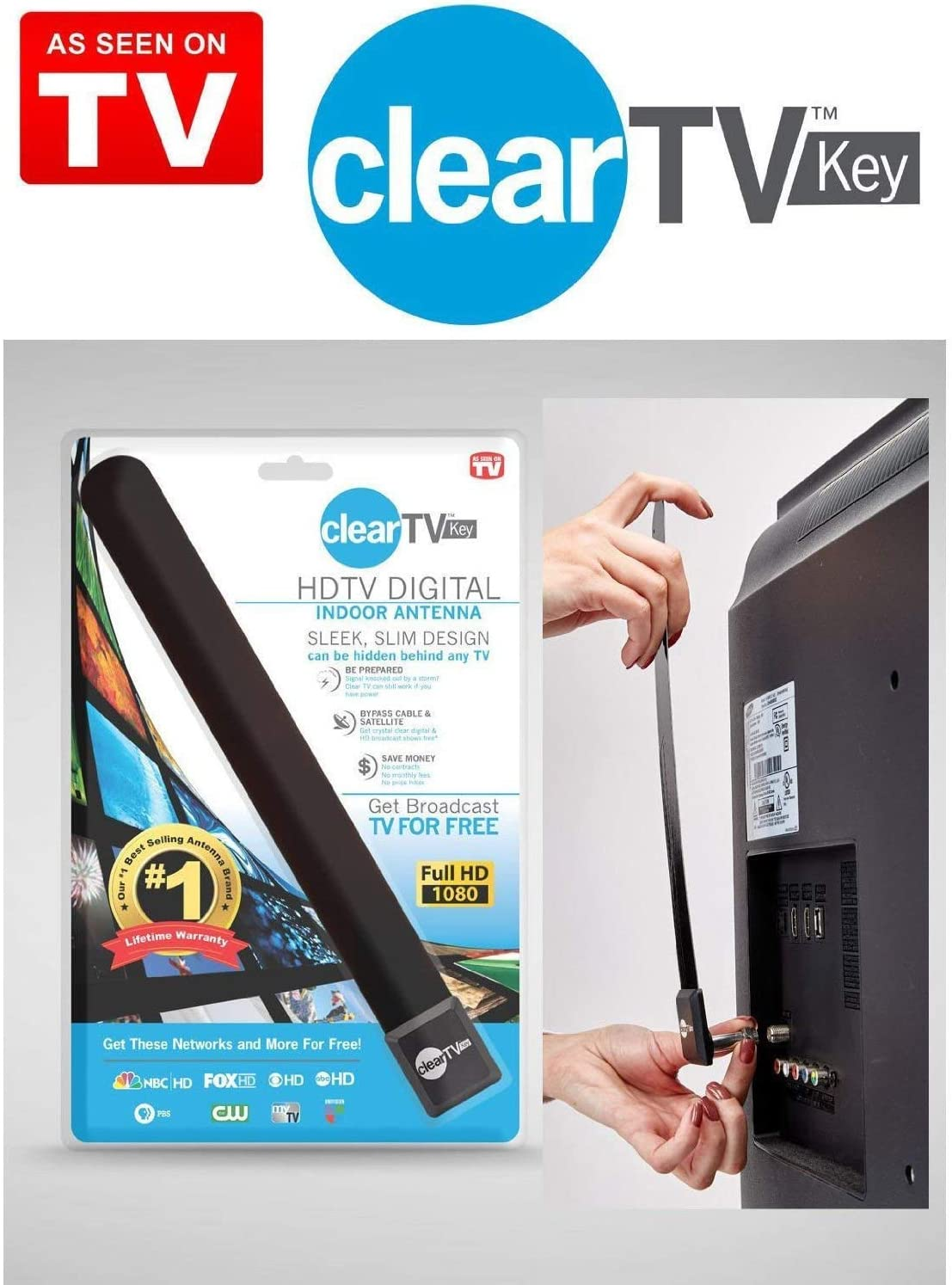 Clear TV Key HDTV Free TV Stick Satellite Indoor Digital Antenna Ditch Cable US~