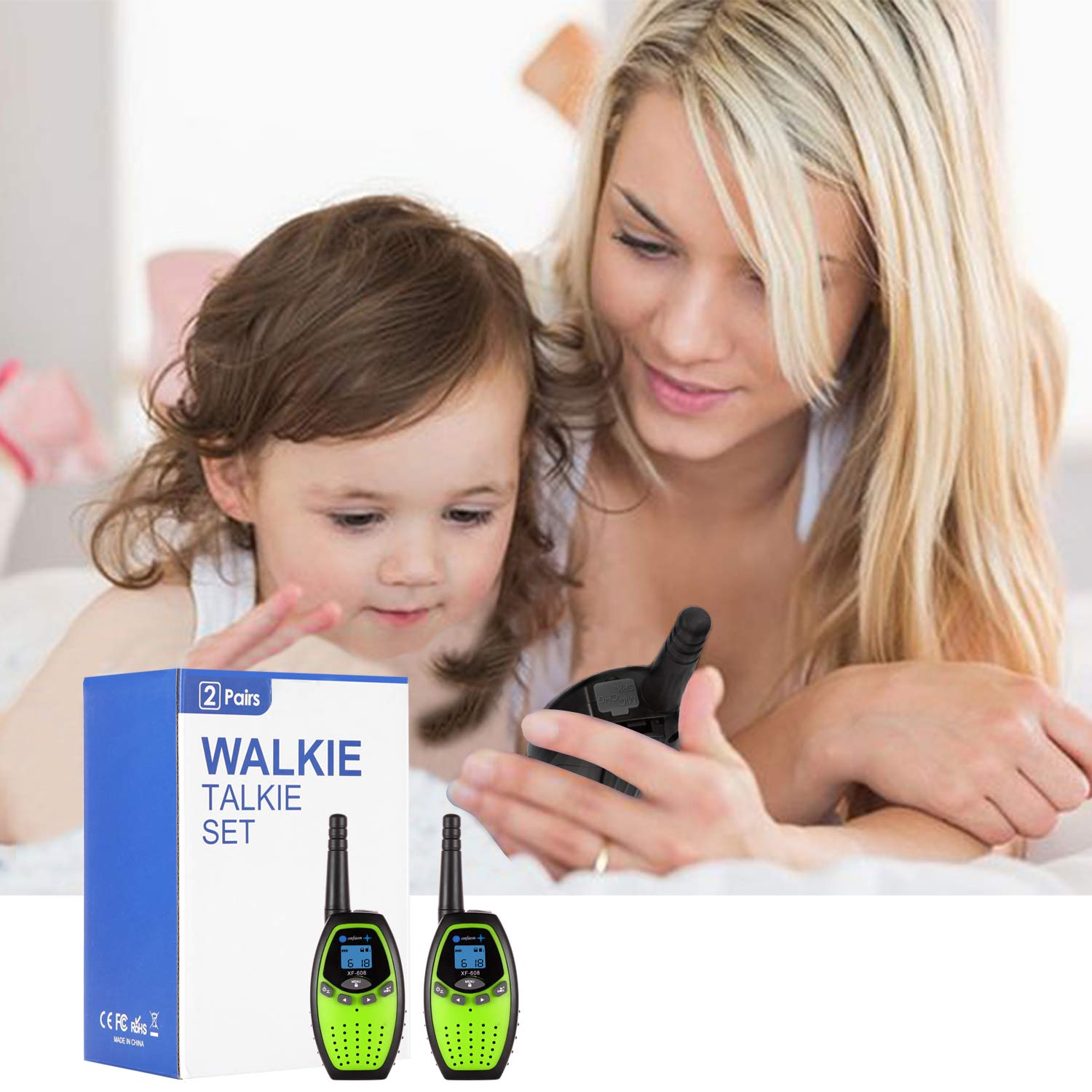 onfaon Walkies Talkies for Kids,22 Channels 2 Way Radios Long Range with Automatic Battery Save,Range Up to 2 Miles for Camping,Hiking,Fishing,Outdoor Activities. (Green) by ONFAON (Image #4)