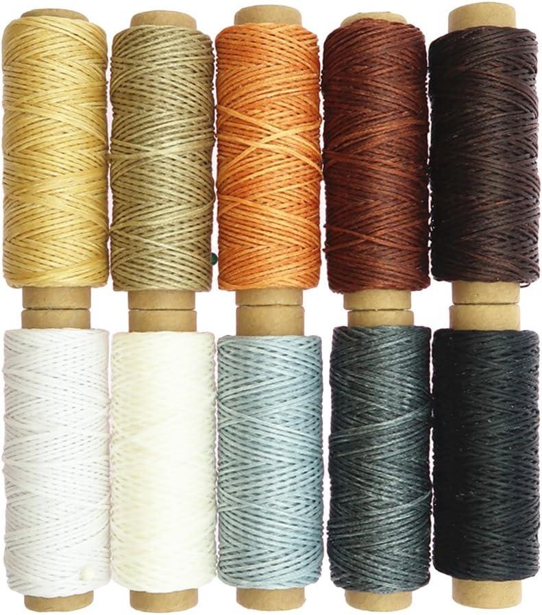 Healifty - 10 piezas de hilo de cera para coser manualidades, cuerda encerada plana, herramienta de costura manual.: Amazon.es: Hogar