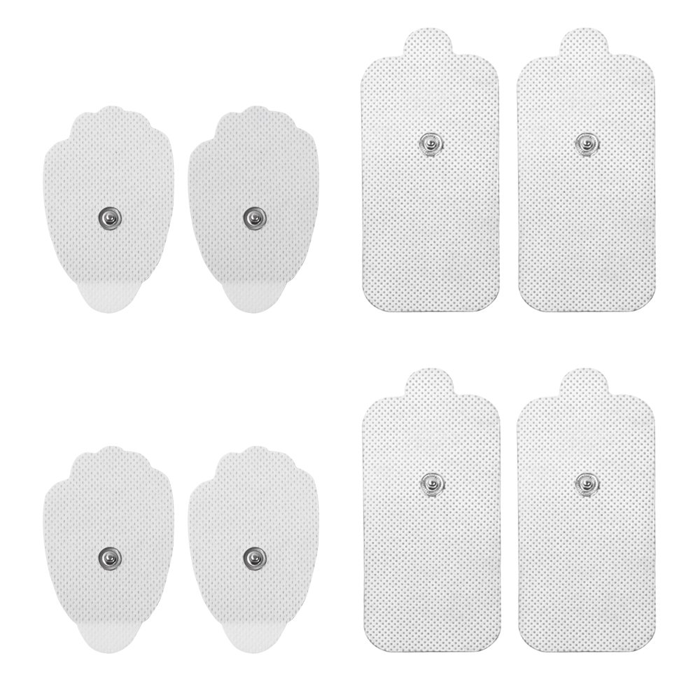 NueMedics Premium Quality 2 Medium and 2 Large Replacement Pads for TENS Units - 4 Pairs of Snap TENS Unit Electrodes (8 TENS Unit Pads)