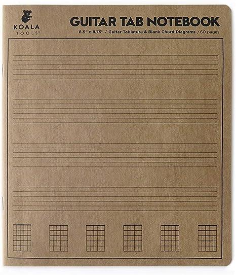 Koala Tools | Guitarra Tablatura – Guitarra Tab Notebook | 8.5 pulgadas x 9.75 pulgadas 60 páginas. - Papel en blanco, hojas para notación de música acorde: Amazon.es: Instrumentos musicales