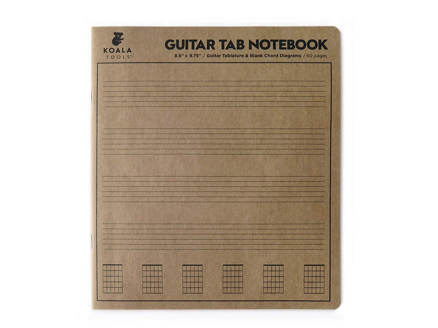 3 Pack Koala Tools Sheets for Music Chord Notation - Blank Paper | 8.5 x 9.75 60pp Guitar Tablature Guitar Tab Notebook