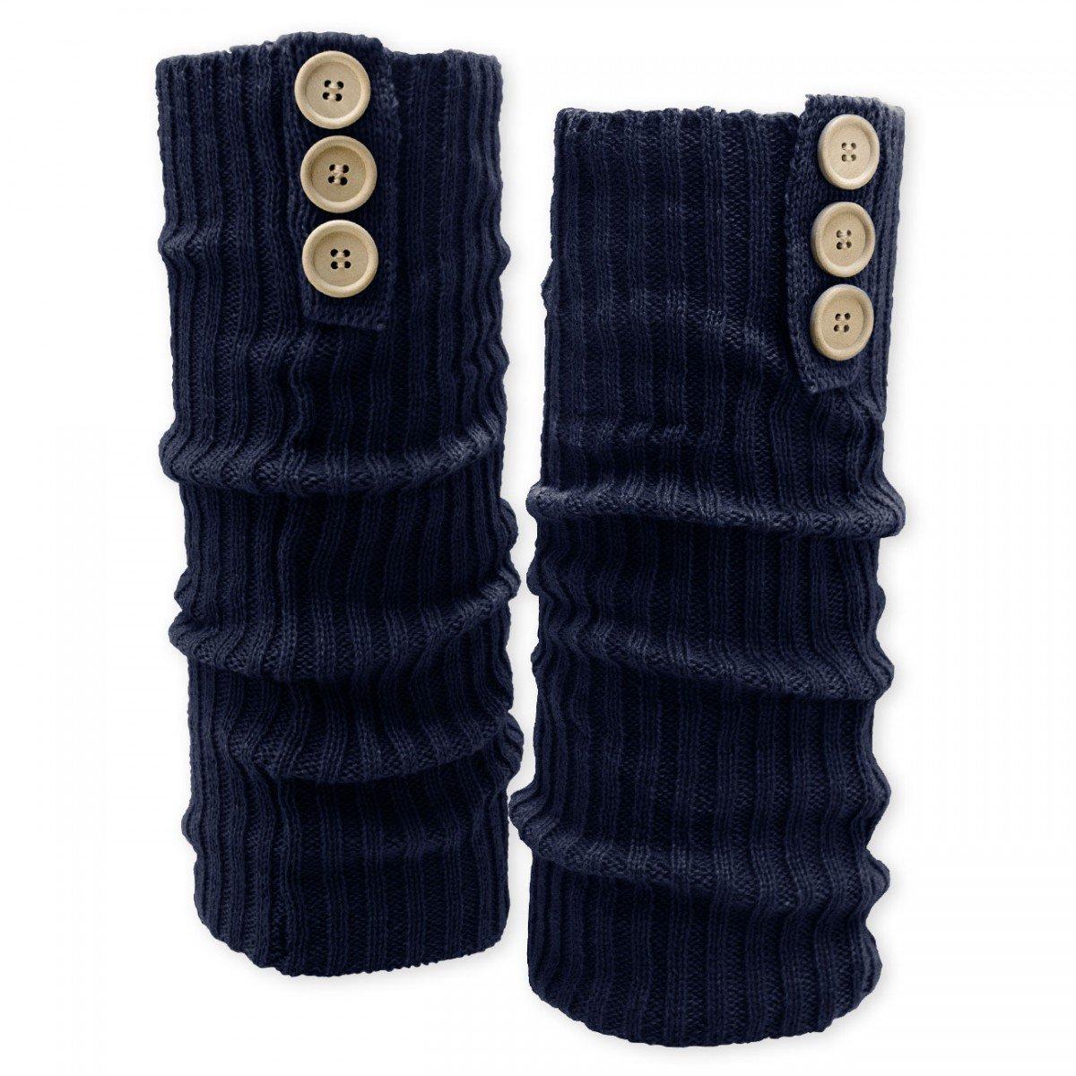 SoulCats superweiche Grobstrick Bein Stulpen mit Knöpfen in den Farben blau grau und schwarz