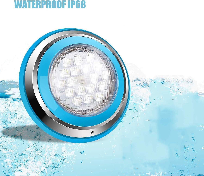 Roleadro Bianco 54W Led Piscina Iluminacion Piscina Led Pool Light IP68 Luz de Piscina para Swimming Pool/Acuario Light Decoración Wall Mounted (DC 12V)