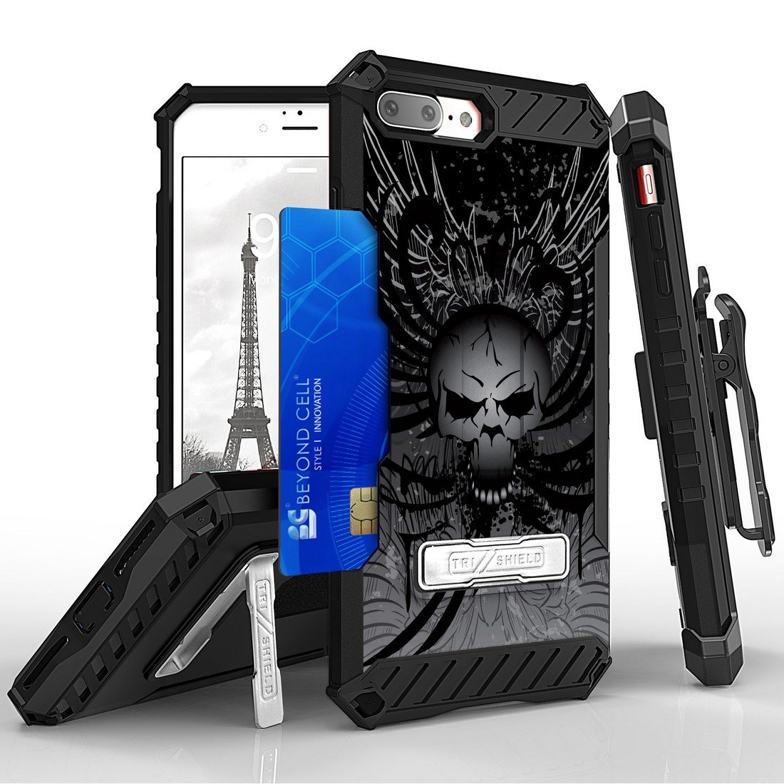 Apple iPhone 8 Plus / 7 Plus - Accessory Bundle: [Skull Wings] Tri-Shield Holster Case, Cellet [Apple MFI Certified] 2.1A / 10W Retractable Lightning Car Charger and Atom LED