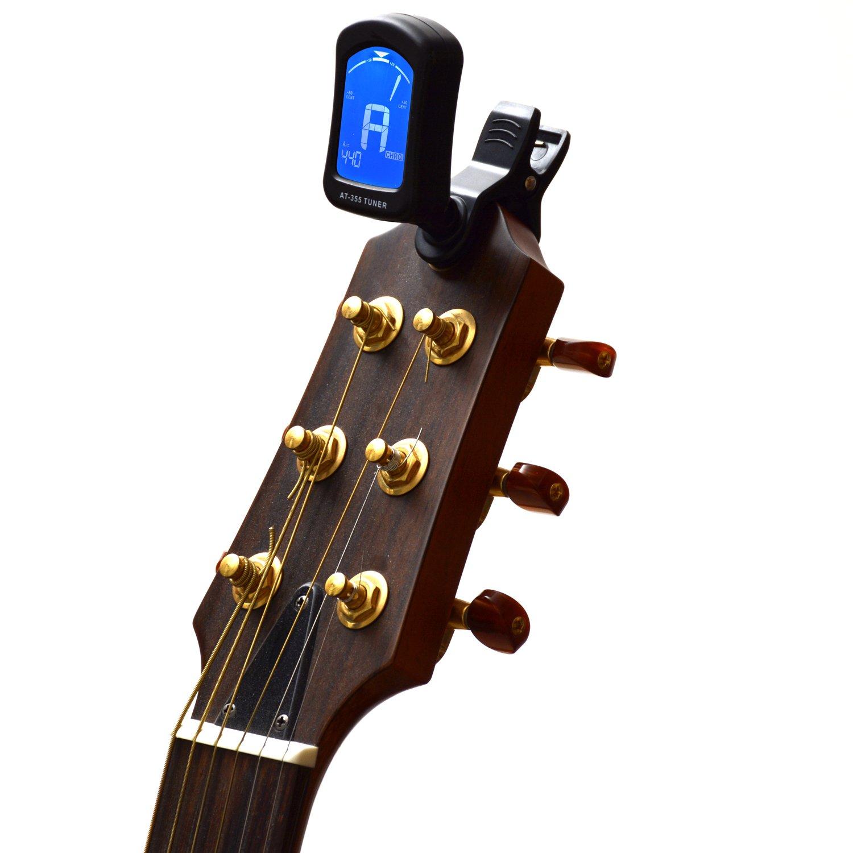 Elagon afinador (AT-355) Afinador multi-Instrumento con agarre tipo clip, ligero y resistente. Múltiples modos de afinación para guitarra, bajo, ukelele, ...