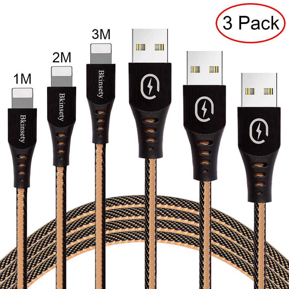 Electrely Cable Micro USB Carga Rápida, 3-Pack [1M, 2M, 3M] Cargador Micro USB Carga Cable - Denim Trenzado USB Cable, para iPhone X/8/7Plus/6 Plus/6s, iPad Air 2/Pro y Más (Black + Apricot)