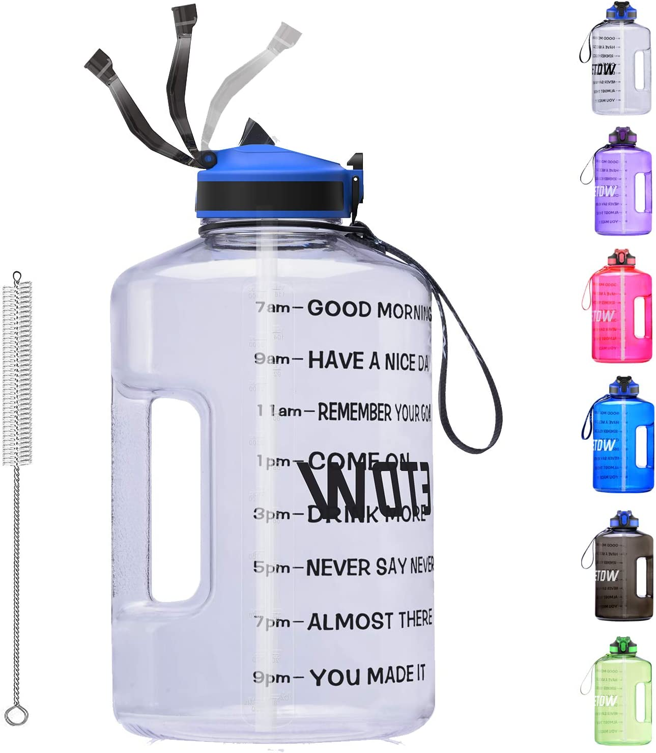 128oz BPA Free Motivational Large Water Jug Leak Proof Huge Water Container with Handle Pop Up Open for Gym Camping Sports Black ETDW 1 Gallon Water Bottle with Time Marker and Straw