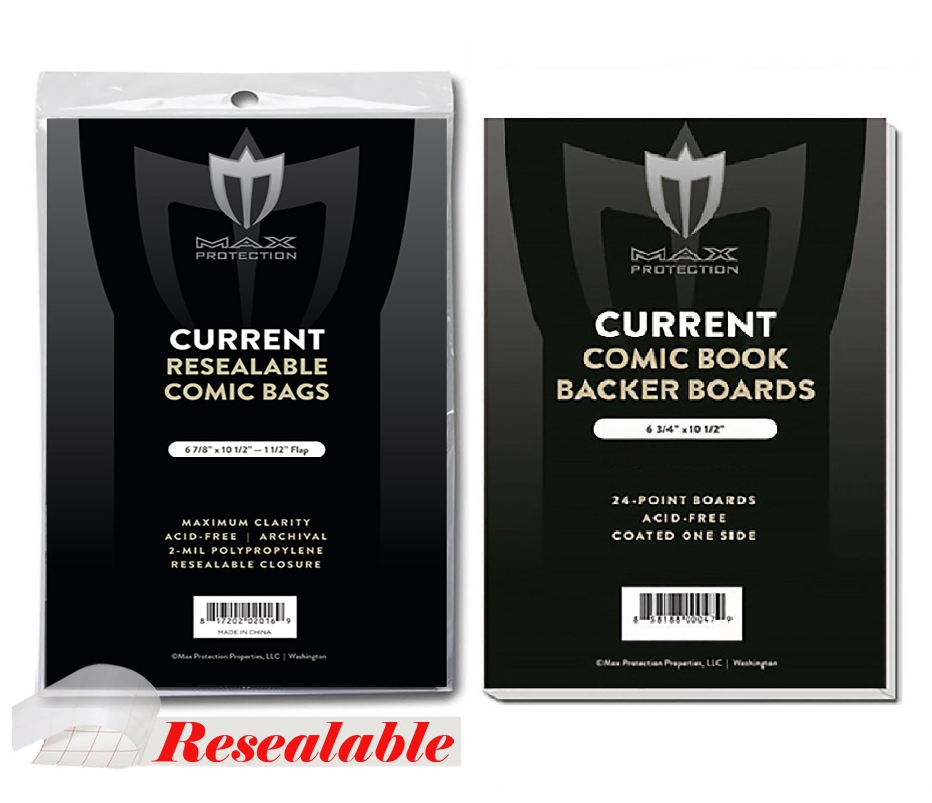 (1000) Current Size RESEALABLE Ultra Clear Comic Book Bags and Boards - by Max Pro (Qty= 1000 Bags and 1000 Boards)