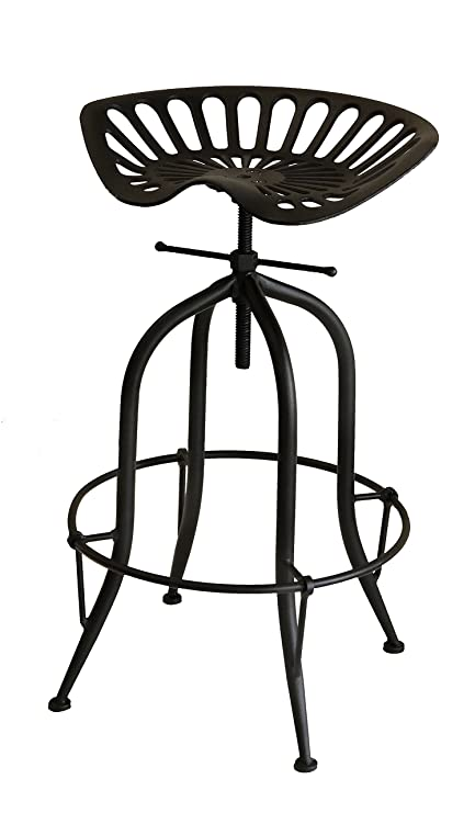Superb Nach Vintage Style Adjustable Tractor Seat Bar Stool With Circle Base Foot Rest 19 5X14 5X26 33 Black Set Of 2 Lamtechconsult Wood Chair Design Ideas Lamtechconsultcom