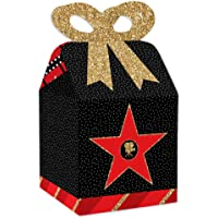 Big Dot of Happiness Red Carpet Hollywood - Square Favor Gift Boxes - Movie Night Party Bow Boxes - Set of 12