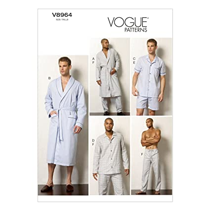 amazon com vogue patterns v8964 men s robe top shorts and pants