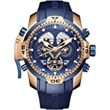 Reef Tiger Men's Military Watches Rose Gold Complicated Blue Dial Watch Automatic Sport Watches RGA3503