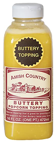 Amish Country Popcorn Buttery Popcorn Topping 16oz, Old Fashioned Flavor   With Recipe Guide And 1 Year Freshness Guarantee by Amish Country Popcorn