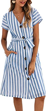 PRETTYGARDEN Women's Summer Striped Short Sleeve V Neck Button Down Belted Swing Midi Dress with Pockets (Blue, Small)